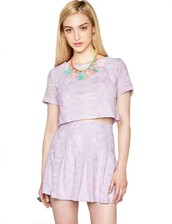 top,pixie market,pixiemarket,lavender,separates,coords,lace,crop tops,crop,pleated,pleated skirt,cute,cute trend,trend 2014,affordable dress,sheer