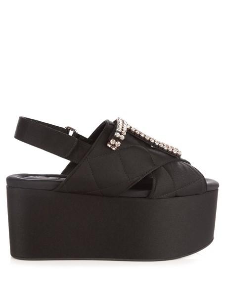 MARNI quilted embellished sandals flatform sandals black shoes