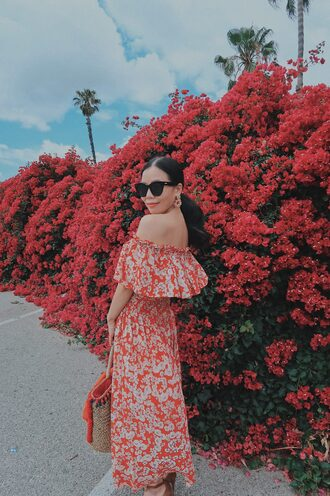 dress tumblr off the shoulder off the shoulder dress red dress floral floral dress bag sunglasses earrings accessories accessory jewels blogger hallie daily