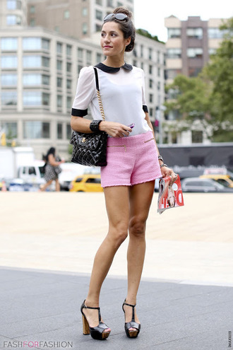 shorts black and white shirt black handbag black heels blogger pink tailored shorts