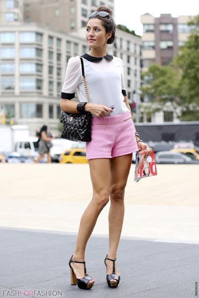 shorts black and white shirt black handbag black heels blogger pink tailored shorts