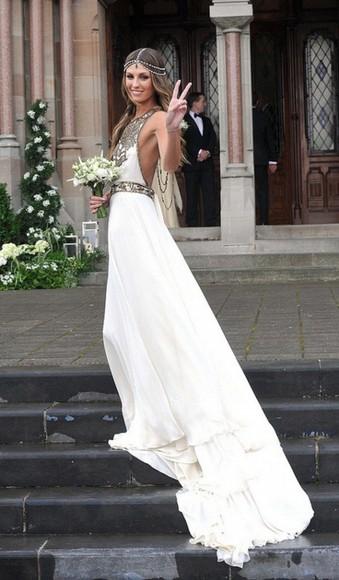 boho vintage wedding dress beads high neck