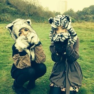 animal ears cat ears animal spirithood fuzzy zebra print cheetah print halloween costume halloween