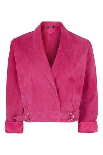 jacket suede jacket cropped suede magenta