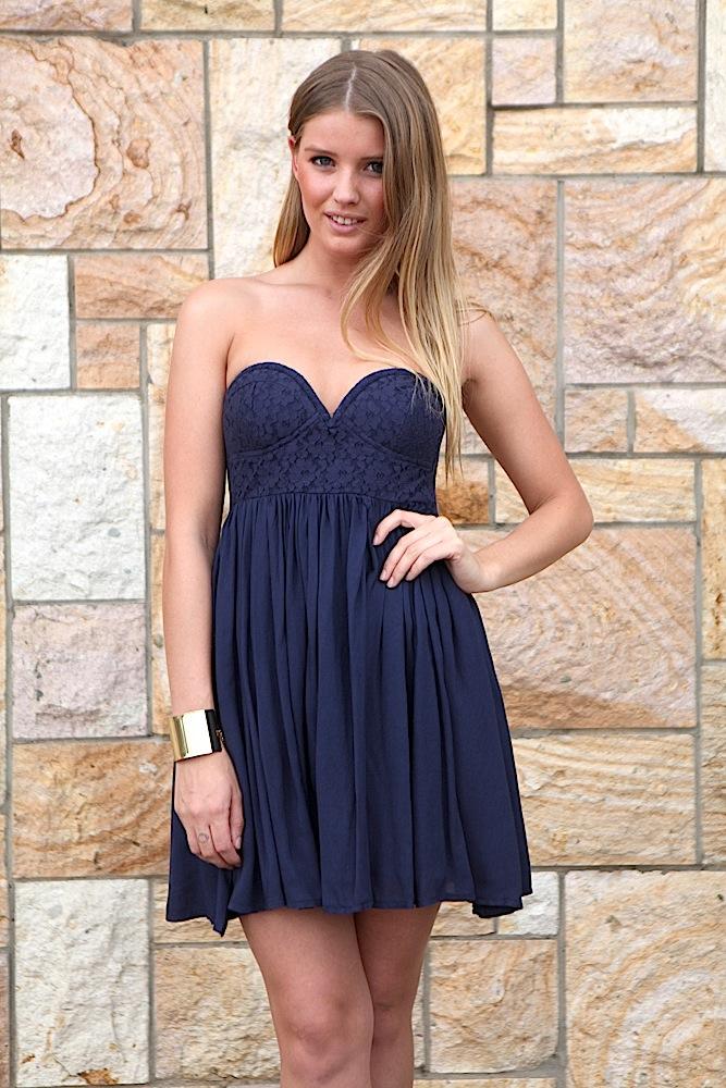 Strapless Navy Dress