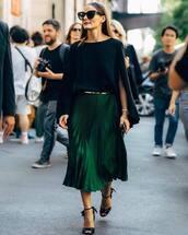 skirt,midi skirt,pleated skirt,satin,sandals,belt,blouse,black blouse,sunglasses,olivia palermo