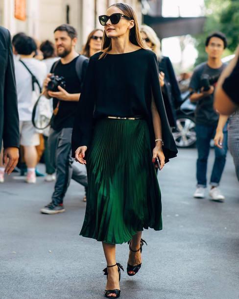 skirt midi skirt pleated skirt satin sandals belt blouse black blouse sunglasses olivia palermo