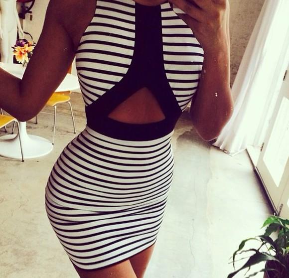 striped dress black and white dress