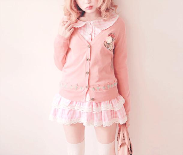 Cardigan Kawaii Soft Grunge Pink Cardigan Pink Dress