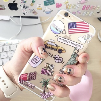 phone cover yeah bunny iphone usa new york city cute pastel girly transparent iphone cover iphone case american flag