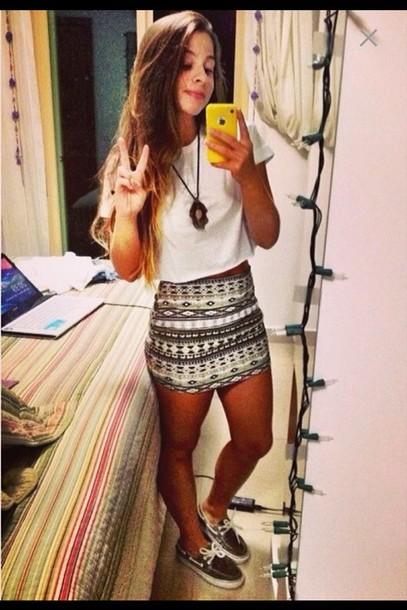 skirt vans necklace crop tops t-shirt white t-shirt aztec aztec skirts