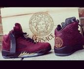 shoes,burgundy,red,black,air jordan,jordans,jordan's,versace jordans,versace,dope,dope shit,high top sneakers