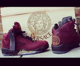 shoes burgundy red black air jordan jordans jordan's versace jordans versace dope dope shit high top sneakers