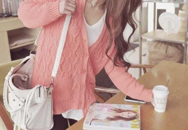 sweater pink cardigan jumper kipnitted knitwear buttons light pink bag comfy jacket vintage cool clothes coral cute cute sweaters pink sweater lovely tumblr tumblr girl coral pink girly