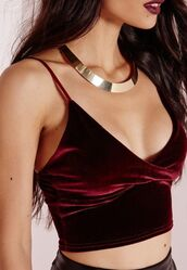 top,spaghetti strap,spaghetti strap top,velvet top,burgundy top,choker necklace,necklace