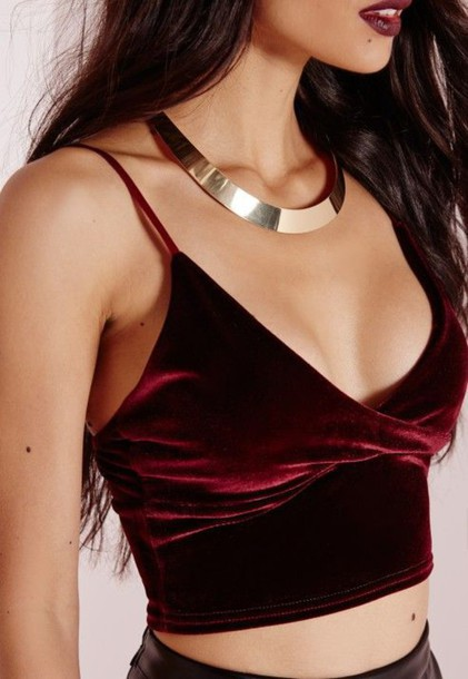 top spaghetti strap spaghetti strap top velvet top burgundy top choker necklace necklace burgundy velvet tank top bralette v neck crop tops red fashion style crop cropped summer beautifulhalo