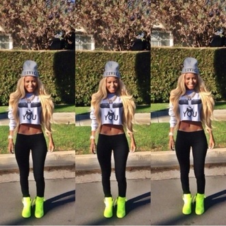 sweater dope ootd civil beanie leggings hat shoes cropped sweater neon yellow high top sneakers skirt