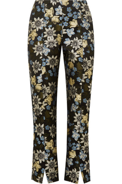 Erdem pants cropped jacquard floral black