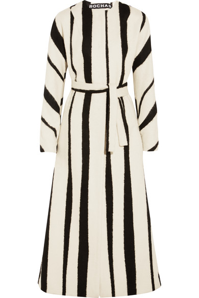 Rochas - Striped brushed wool-blend coat