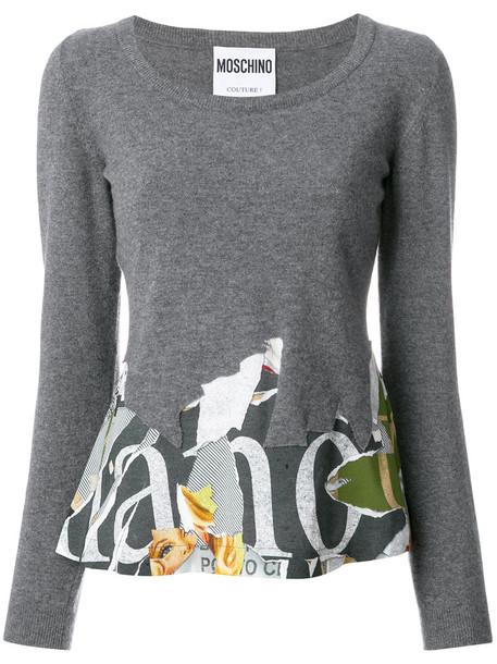 Moschino sweatshirt long women wool grey sweater