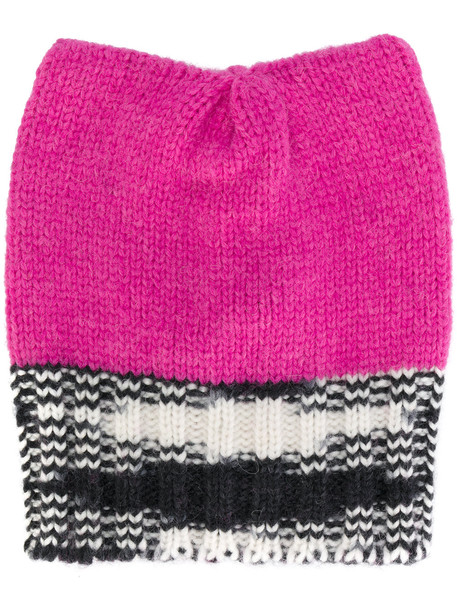 beanie purple knit pink hat