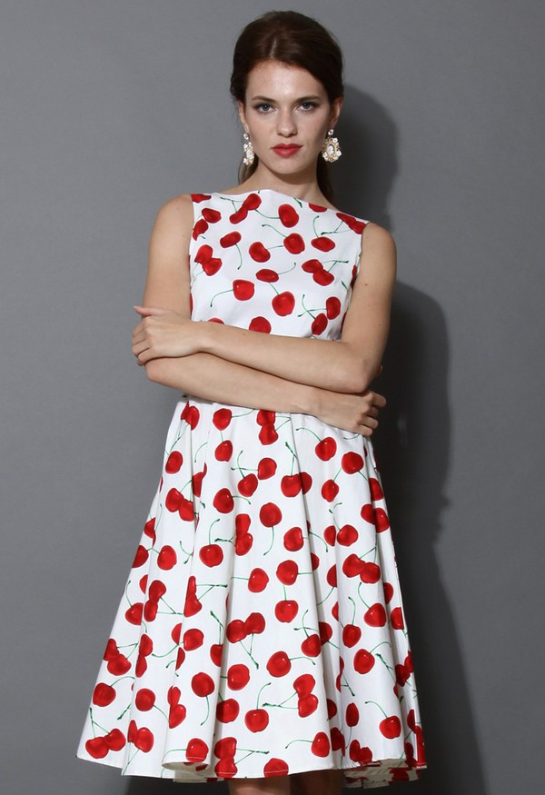 chicwish cherry pie belted midi dress