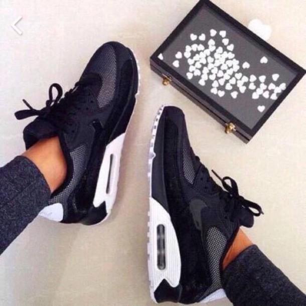 Shoes Air Max Nike Black White Sliver Nike Air Max 90 Black Hair Accessory Jeans