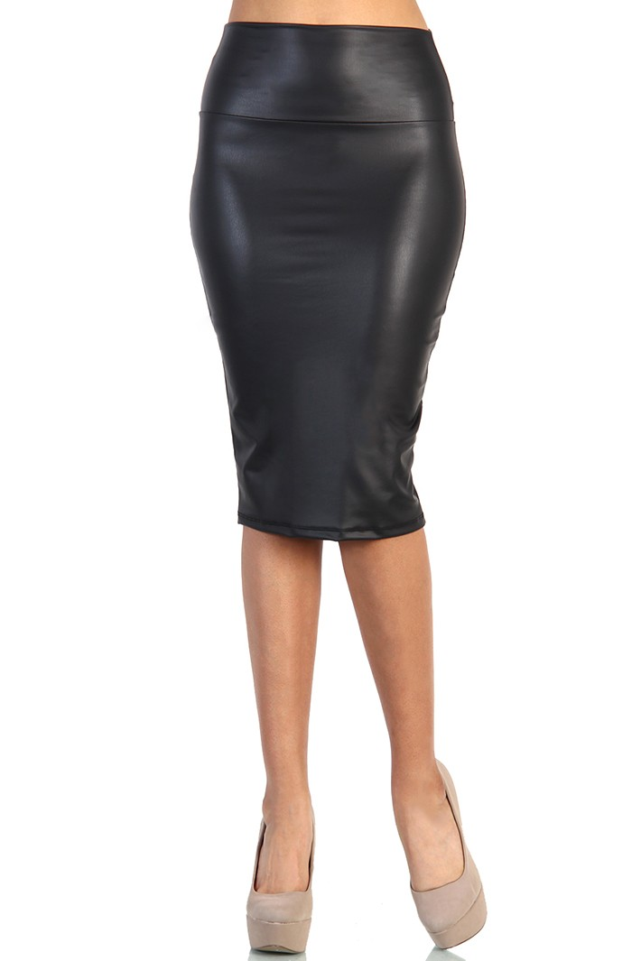 Length Leather Skirt - Black