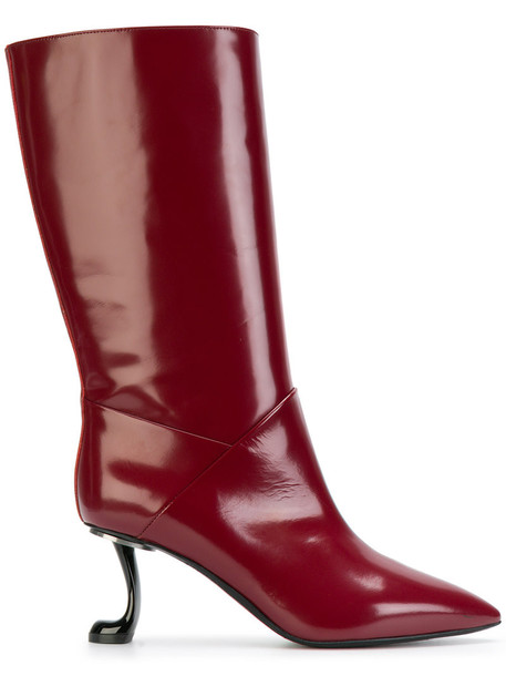 MARNI women leather red shoes
