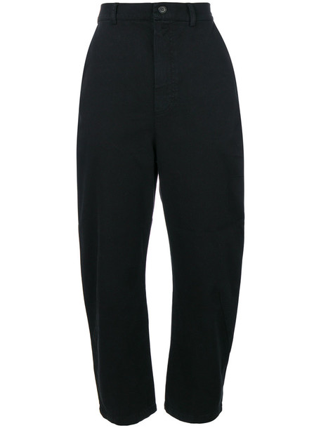 Henrik Vibskov cropped high women spandex cotton black pants