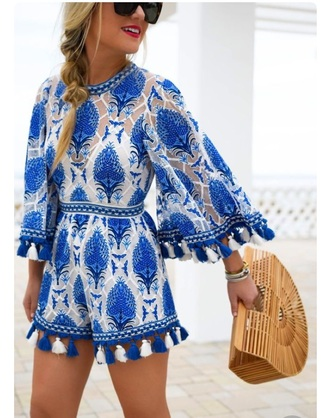 romper blue summer outfits summer dress summer romper