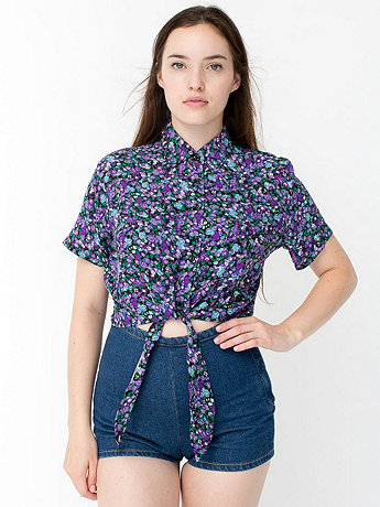 Rayon Mid-Length Tie-Up Blouse | American Apparel
