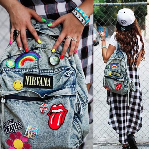 nirvana band merch denim backpack bag