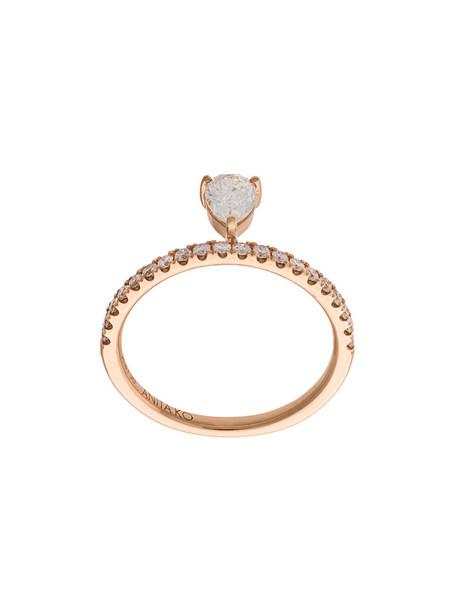 Anita Ko rose gold rose women ring gold grey metallic jewels