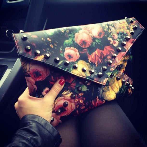 bag borsa flowers rose studs borchie
