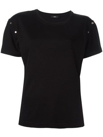t-shirt shirt studded women black top