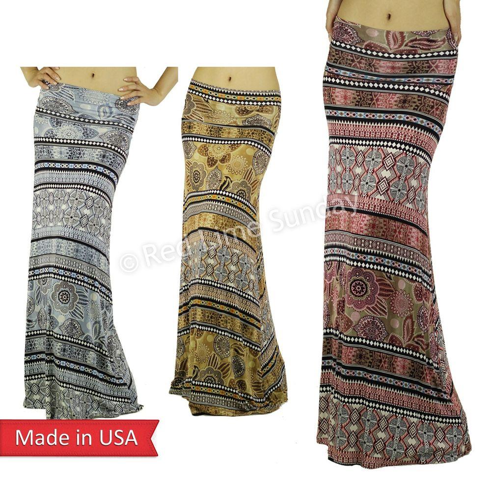 New Tribal Ethnic Oriental Mandara Gray Brown Pink Fold Over Long Maxi Skirt USA