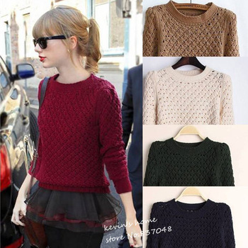 New fashion women's slim shrug sweater hollow pineaple pattern pullover solid brand knitwear LST088#-in Pullovers from Apparel & Accessories on Aliexpress.com