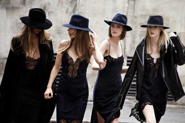 dress wide brim hat hat black hat black silk lace trim lace dress tartan blue green dress