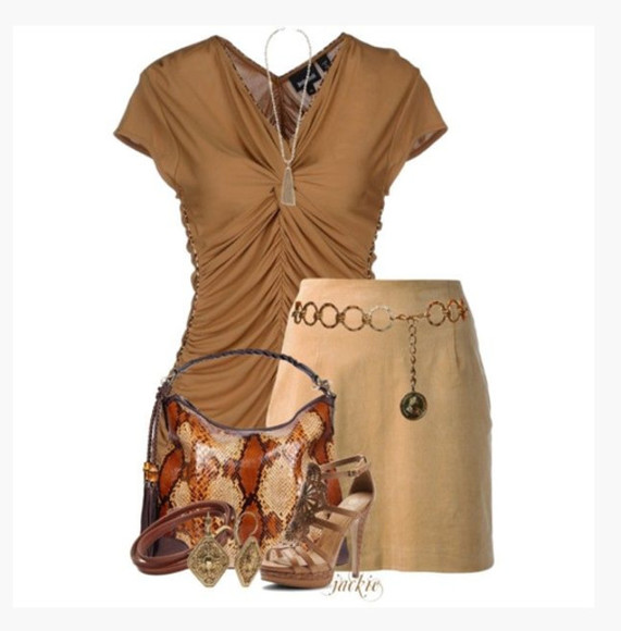 blouse skirt shoes bag v-neck top ruched short sleeves sandy gathered form fitting sandy skirt short skirt purse high heels sandals sandal heels t-strap heels earrings clothes outfit
