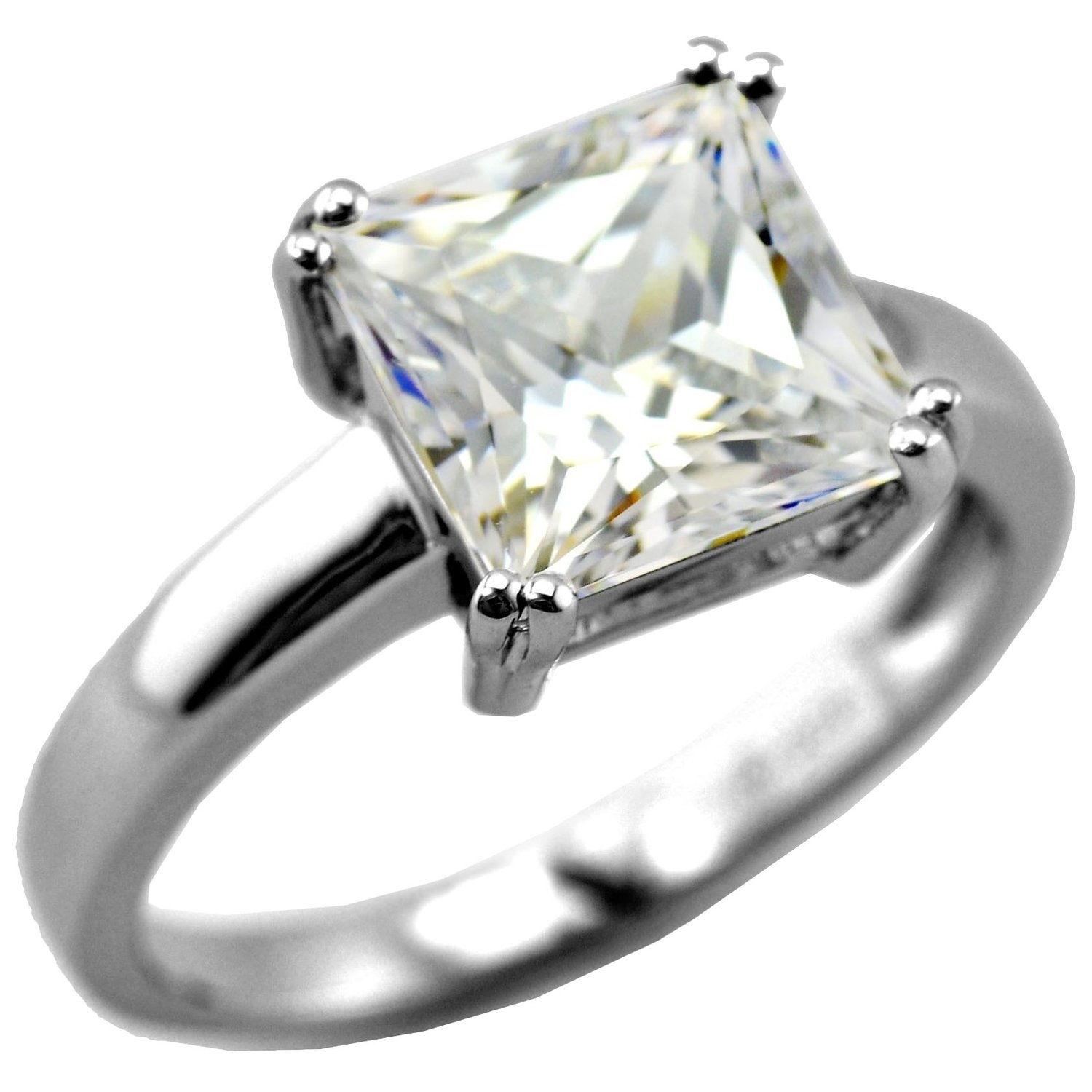 Amazon.com: princess cut solitaire ring with 3.67 carat brillianite. 925 sterling silver. comfort fit.: jewelry