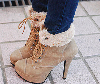 shoes ankle boots heels fur suede beige winter boots