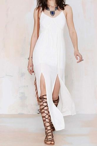 dress white nastygal zaful maxi dress spaghetti strap gladiators