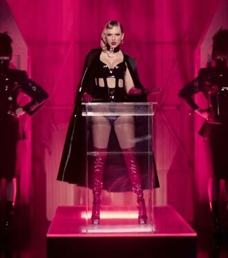 top edgy sexy taylor swift music video boots coat choker necklace jewels shoes