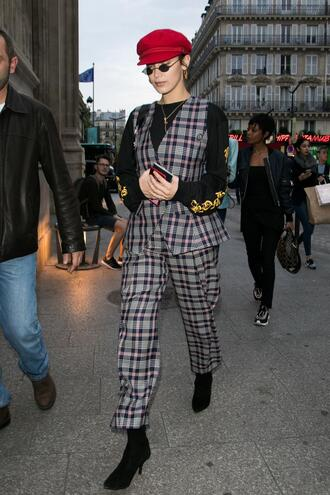 pants vest plaid hat bella hadid streetstyle paris fashion week 2017 top shoes newsboy hat cabby hat accessories accessory