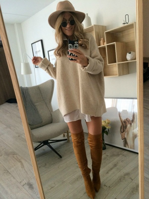 beige dress sweater cozy fashion sweet love more lovely winter sweater wow beige nice sweetheart dress blonde hair sexy oversized sweater high knee boots