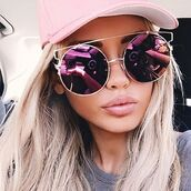 sunglasses,so sixty sunglasses,sunnies,shades,glasses,round sunglasses,flat top sunglasses,rimless sunglasses,colorful sunglasses,pink sunglasses,pink,rose gold,rose gold sunglasses