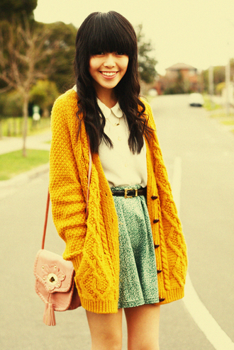 kani mustard cardigan sweater bag