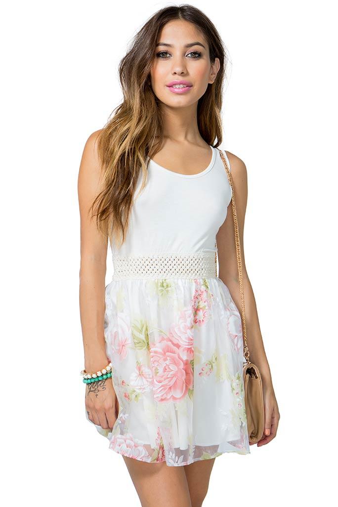 A'GACI Organza Floral Poof Dress - DRESSES