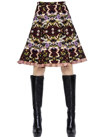 skirt jacquard cotton wool